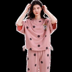Image 1 - 4XL młoda dziewczyna bielizna nocna zestawy luźne ubrania wiosna cienka krótki rękaw kobiety piżamy Dot drukowanie piżamy urocza odzież domowa