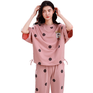 Image 1 - 4XL 少女パジャマセットレジャー服春薄型半袖女性パジャマドット印刷パジャマ素敵なホーム服