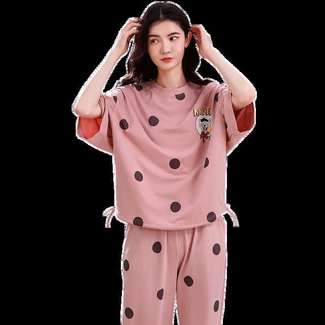 4XL 少女パジャマセットレジャー服春薄型半袖女性パジャマドット印刷パジャマ素敵なホーム服