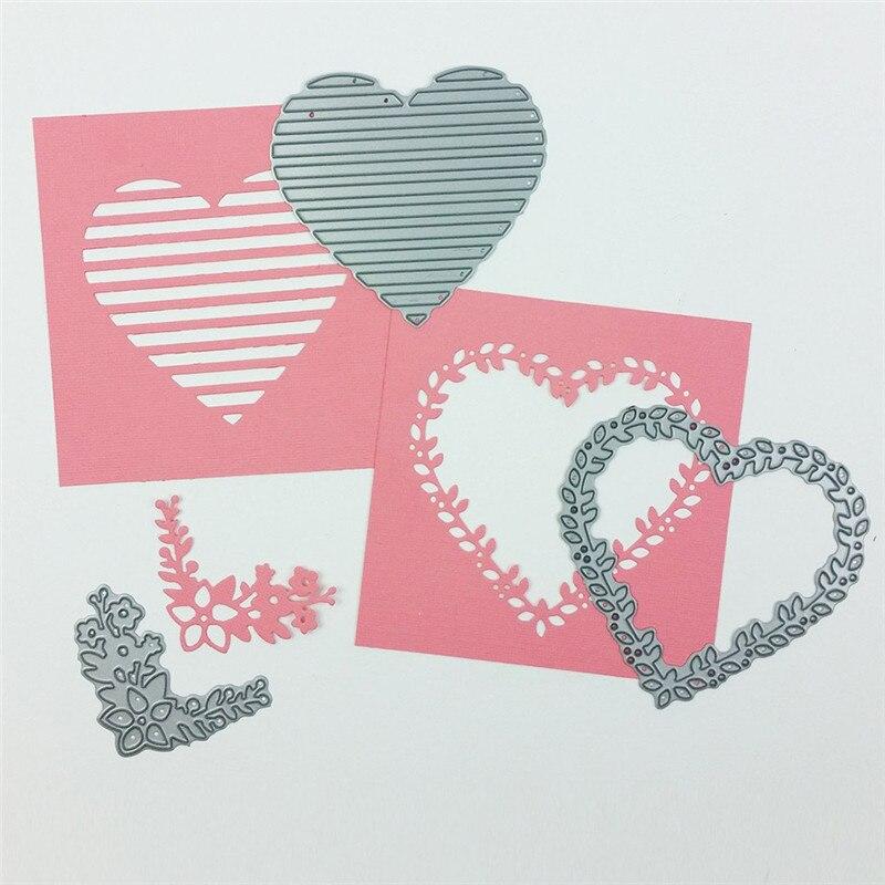 Yaminsannio camadas de amor metal corte dados novo 2019 coração flor dados scrapbooking para fazer cartão diy artesanato cortar estêncil