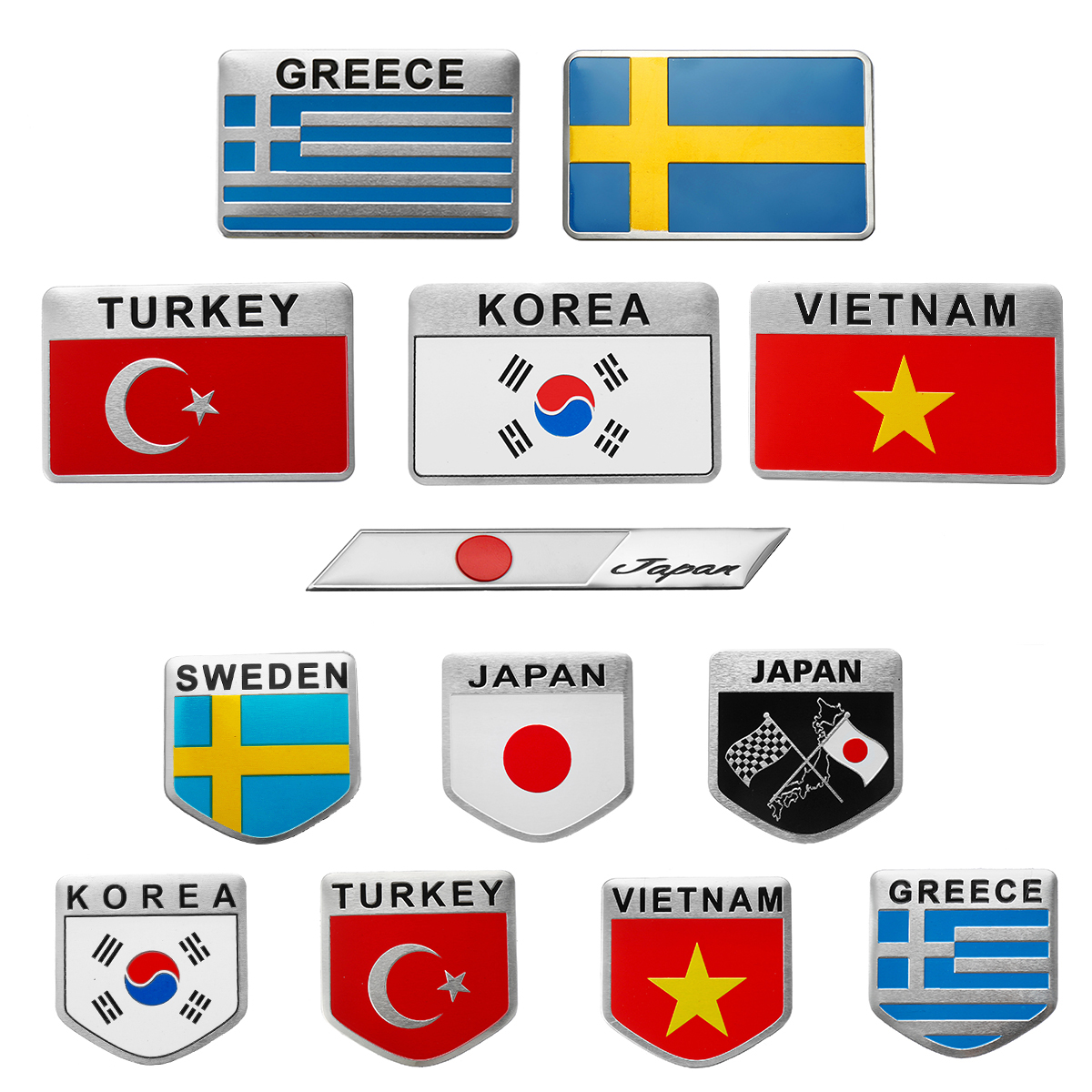 Turkey Sweden Greece Korea Vietnam Japan 3D Car Auto Sticker Decal Flag  Sticker Decal Emblem Badge Aluminum Alloy