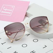 2020 de metal marca luxo designer lady cat eye óculos sol feminino vintage festa sem aro gradiente óculos sol para feminino uv400