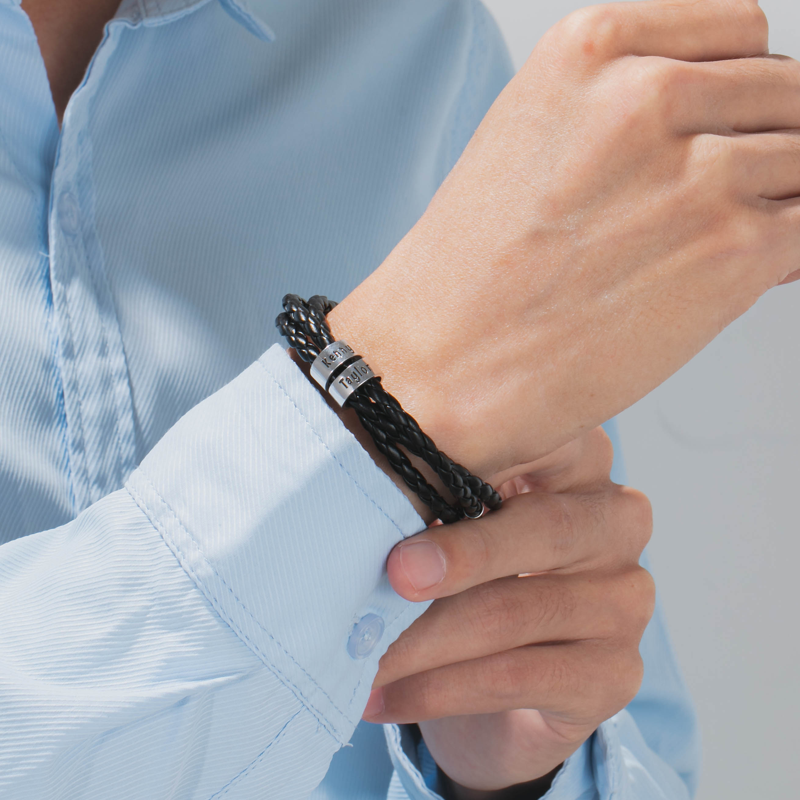 Personalized Men Black Braid Rope Bracelet with Small Custom Beads ID Bracelets Wrap Bangles Christmas Gift