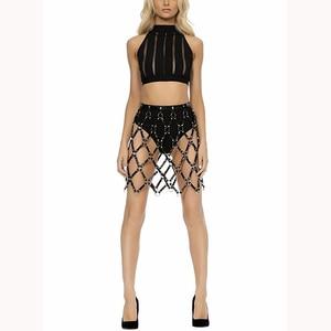 Image 1 - Short Skirt New Sexy Hollow Black Mesh PU Leather Skirt Leather Harness Bondage Skirts Chain Dress Belt Body Jewelry