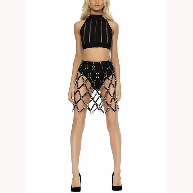 Short Skirt New Sexy Hollow Black Mesh PU Leather Skirt Leather Harness Bondage Skirts Chain Dress Belt Body Jewelry