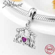 New 925 Sterling Silver Pink Round Fashion Love family charms Beads Fit Original Pandora Charms Bracelet Jewelry Making