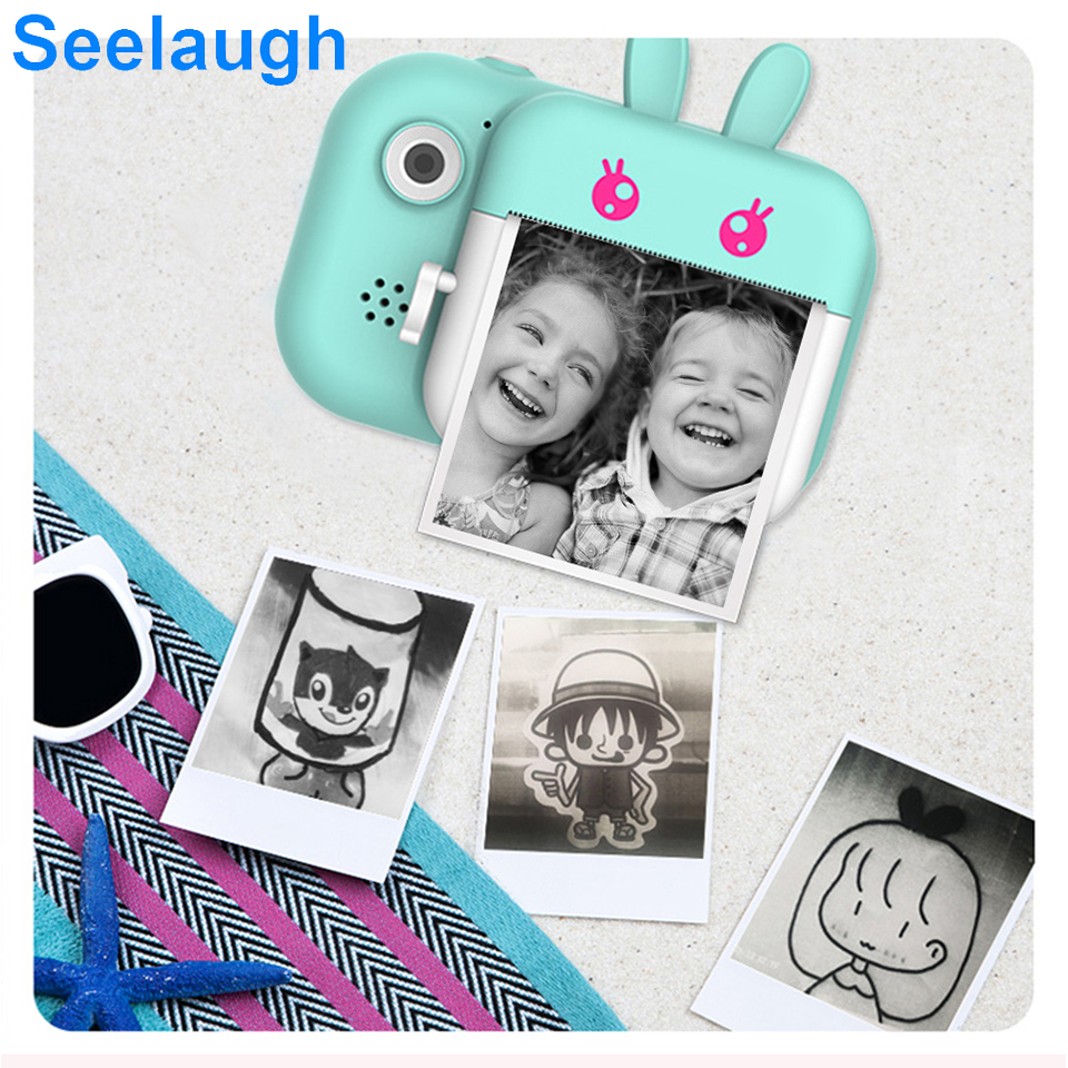 Seelaugh Kids Camera Waterproof Photography LCD Display Photo Printer 24M Pixel Selfie Cute Cartoon With 32G Memory Card Gift 10