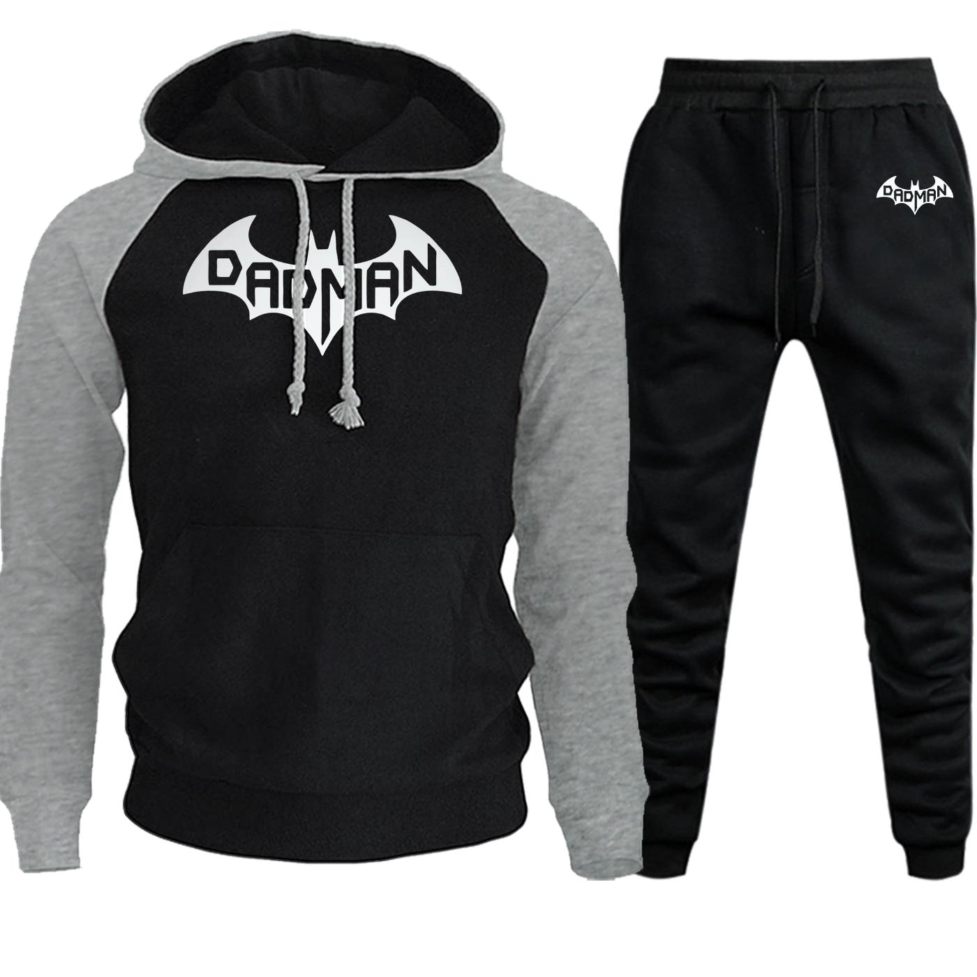 Batman Hoodies Mens Raglan Fashion Sweatshirts Autumn Winter Hot Sale Hip Hop Pullover Fleece Suit Male Hooded+Pants 2 Piece Set