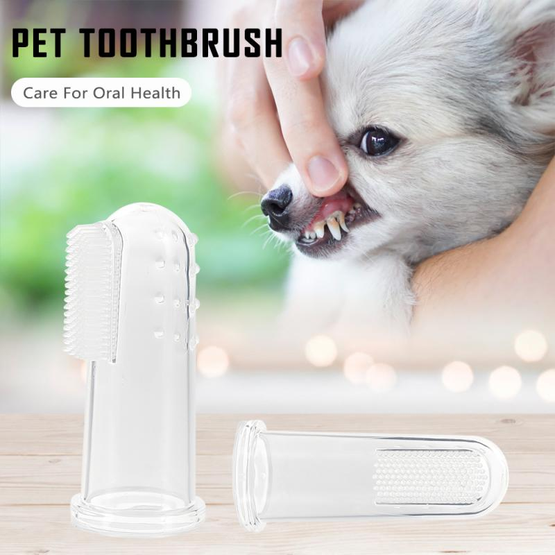 1pcs Super Soft Dog Toothbrushes Pet Finger Toothbrush Plush Dog Plus Bad Breath Care Tartar Tools Dog Cat Cleaning Supplies