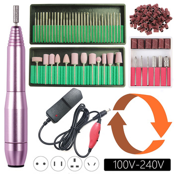 20000RPM Electric Nail Drill Machine Manicure Set Pedicure Kit Left Hand Nail Drill File Bits Gel Cuticle Remover Polishing Tool 1set nail drill bits set nail art polish manicure pedicure machine nail brushes gel nails polish remover makeup tool kit eu plug