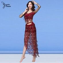 2020 New Fashion Belly Dance Costume Set Sexy Perspective Dance Clothes Tassel Hip Scarf Chiffon Bellydance Bra Top Summer Skirt