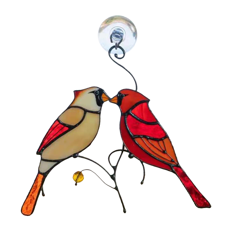Style 3-Cardinals Birds Stained Glass Ornament Hanging Layout Home Decor Wedding Room Decor