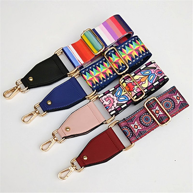 New National Style Colorful Women's Color Long Shoulder Strap Single Shoulder Slung Wide Shoulder Strap Replacement Bag Strap