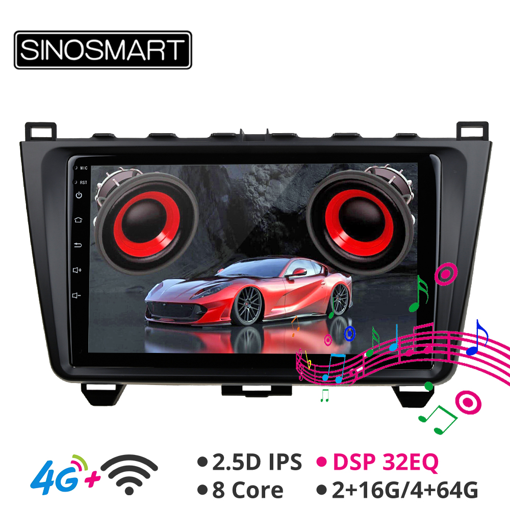 SINOSMART Support BOSE Audio System 4G SIM Card IPS/QLED screen 2G/4G Car <font><b>GPS</b></font> Navigation Player for <font><b>Mazda</b></font> <font><b>6</b></font> Android 8.1 2008-12 image