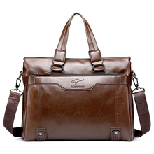 High Capacity Soft PU Leather Men's Briefcases Portable Male Messenger Bag Multi-use Business Shoulder Bags 14 inch Laptop Bag