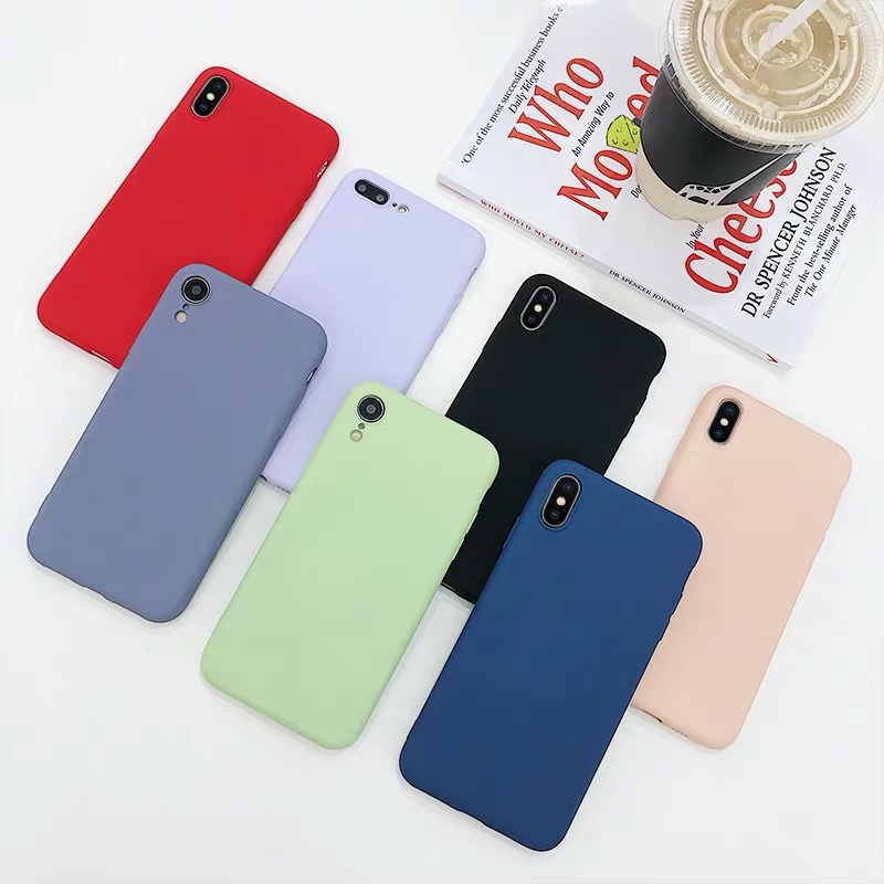Cute Candy Color Soft Simple Fashion Phone <font><b>Case</b></font> NEW Solid Color Silicone Couples <font><b>Cases</b></font> for <font><b>IPhone</b></font> <font><b>Case</b></font> <font><b>XR</b></font> X XS Max 6 6S 7 8 Plus image