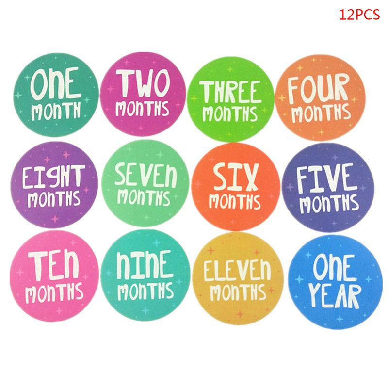 12pcs/set Excellent Memorize Reusable Infants Monthly Growth Stickers Newborn Baby Photography Props