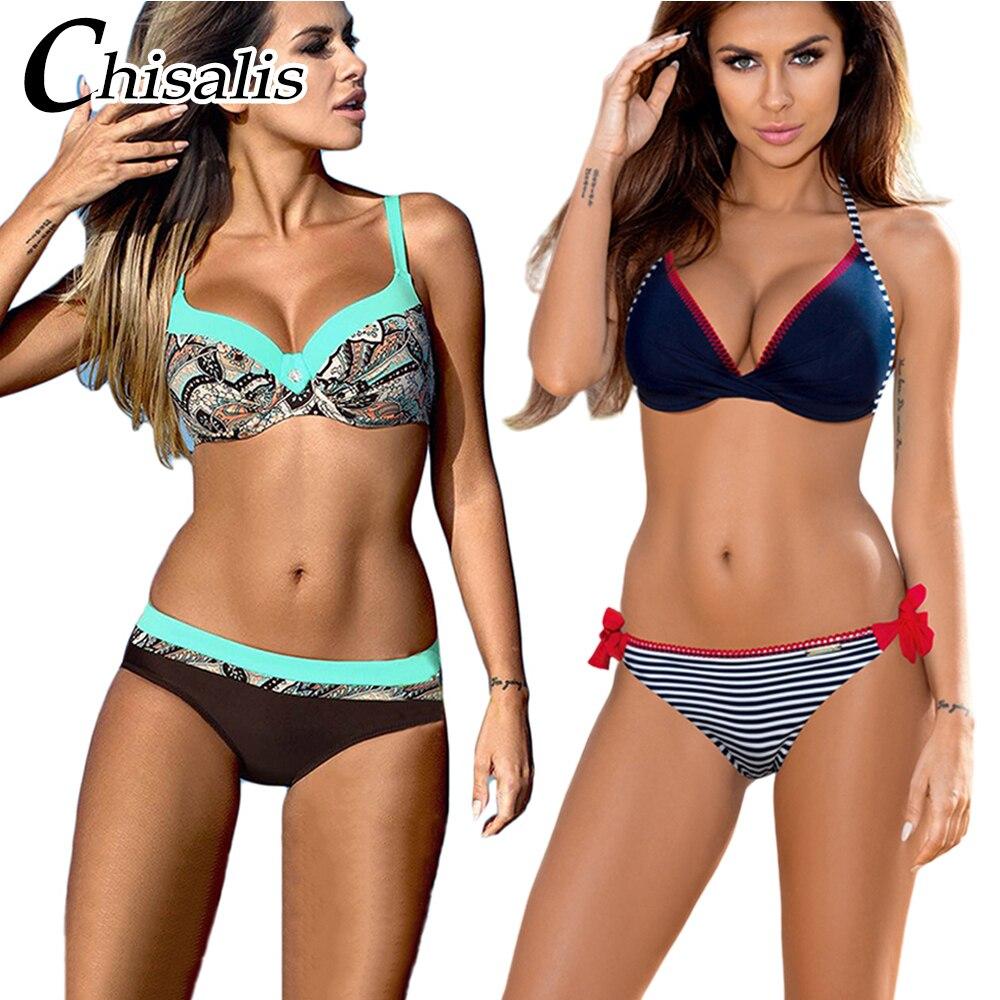 Chisalis Sexy Swimsuit Women Bikini 2019 Print Push Up Swimwear Women Brazilian Bikini Set Beach Bathing Suit Floral Biquini XXL