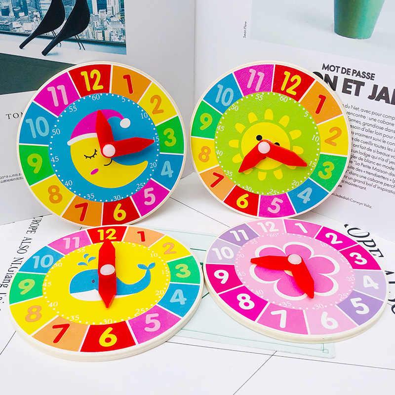 Cartoon dzieci Montessori drewniany zegar zabawki godzina minuta drugie poznanie zegary zabawki dla dzieci do wczesnej edukacji przedszkolnej pomoce nauczycielskie