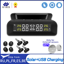 E-ACE Tyre Pressure Warning Monitoring System with 4 Sensor Real-time Digital Display TPMS Solar Car Tire Pressure Alarm System
