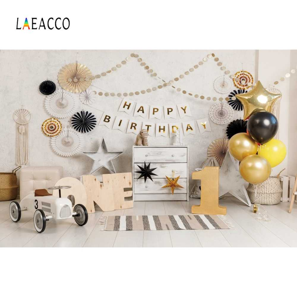 Laeacco 아기 생일 풍선 장난감 자동차 곰 선반 의자 어린이 사진 배경 사진 배경 사진 스튜디오