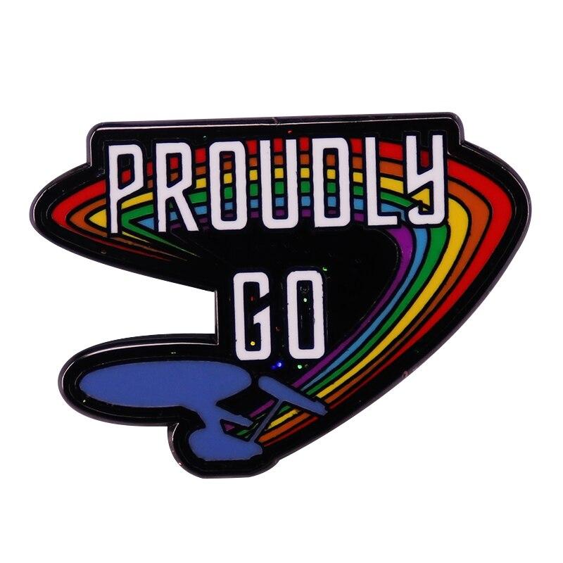 Эмалированная брошь с гордостью Go, брошь с блестками для гомосексуалистов, значок с тремя звездами, стильный аксессуар для фанатов