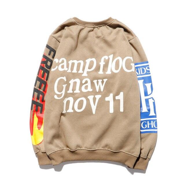 KANYE Smiley Flame Print Round Neck Sweatshirt Men and Women Plus Velvet Streetwear Stranger Things Hoodie Pullover Mens Hoodies 2