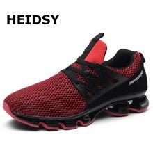Heidsy, zapatillas de deporte de talla grande 48 a la moda para hombre, zapatos de malla informales con cordones para hombre, zapatillas ligeras transpirables para hombre, zapatillas deportivas