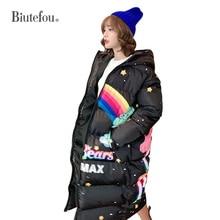 2020 Winter fashion cartoon print long hooded coats women thick Parkas