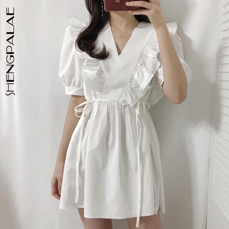 SHENGPALAE 2021 yeni yaz kadın Vintage gevşek yüksek bel İnce oldu ince zarif v yaka Ruffles Prff kollu elbise kadın ZA4226