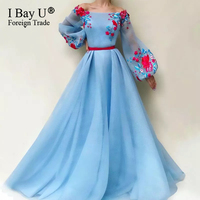 Charming Blue Evening Dress 2020 A Line Flowers Appliques Dubai Saudi Arabic Ladies Evening Gowns Prom Dress