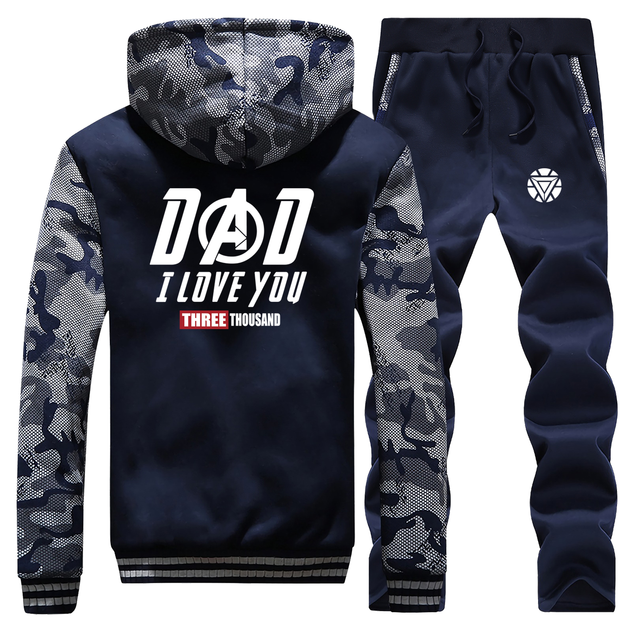I Love You Three Thousand Winter Hot Sale 2019 The Avngers Sportswear Camouflage Coat Thick Suit Warm Jackets+Pants 2 Piece Set