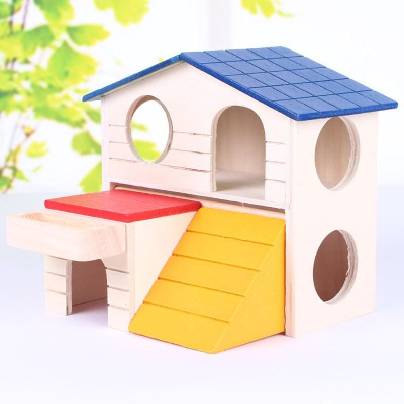 1PC Luxury Hamster House Double Wood Folding Cute Hamster Guinea Pig Pet Cage House Small Animal Sleeping Room Supplies