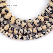 Natural Dalmation Jaspers Rondelle Stone Round Loose Beads For Jewelry Making 4-8mm Spacer Fit Diy Bracelets Necklace 15