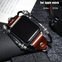 Lederband Für Apple Uhr band 44mm 38mm 40mm 42mm correa Retro Handgemachte Rindsleder armband armband iWatch Serie 3 4 5 6 SE