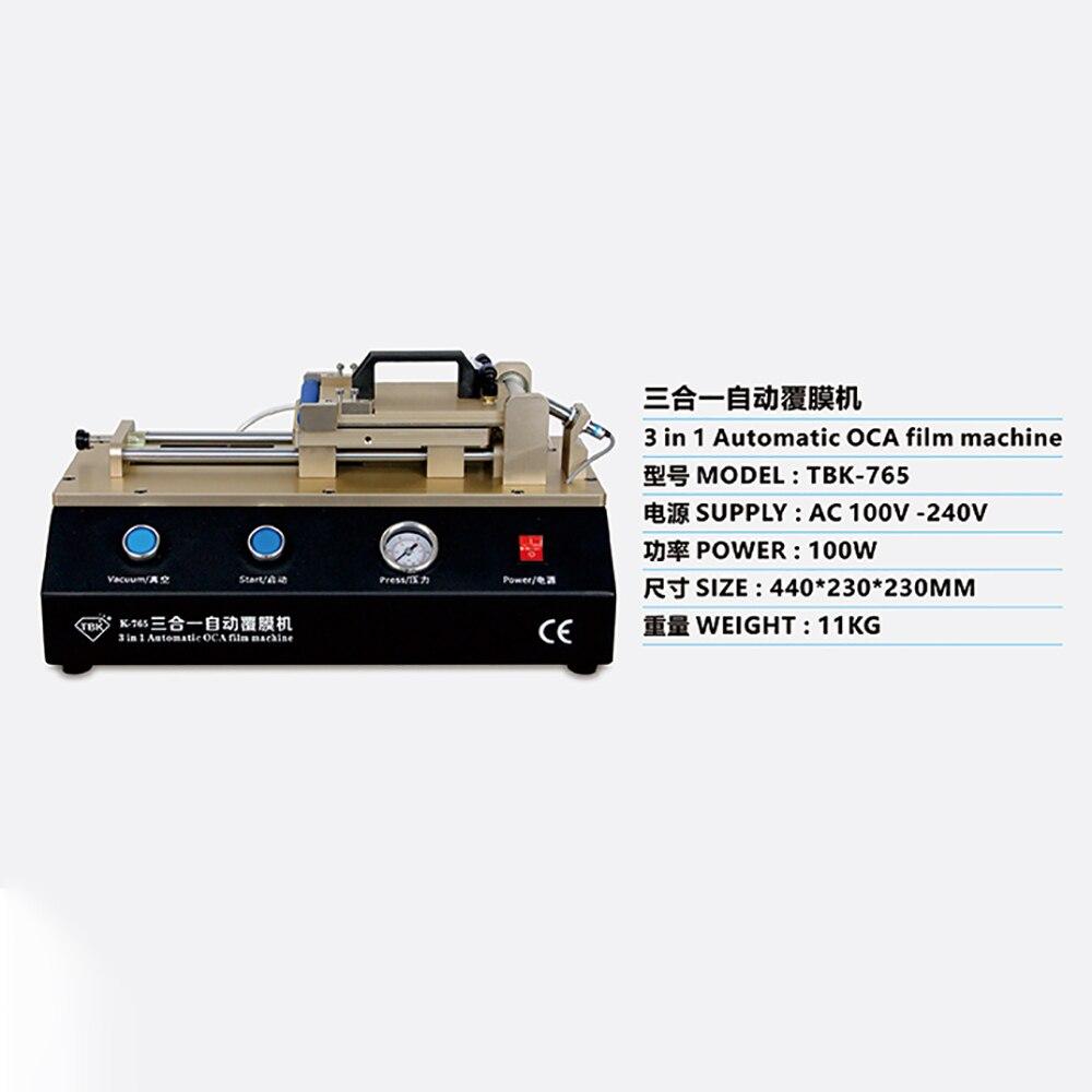 Купить с кэшбэком TBK-765  3 in 1 Automatic OCA Film Machine Built-in Vacuum Pump Air Compressor LCD Touch Screen OCA Laminator Laminating Machine