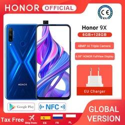 В наличии глобальная версия Honor 9X 6 ГБ 128 Mobbile телефон 48MP AI двойной Камера 6,59 ''мобильный телефон Google Play для мобильного телефона