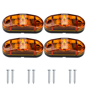 Image 2 - 4x 12V/24V Oval LED Side Marker Lights Lamp Universal Indicator of Position with Amber Bulbs for Truck Trailer Van Lorry Car Bus