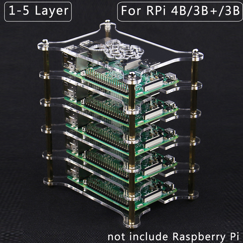 Raspberry Pi 4 Acrylic Case 1-5 Layer Transparent Box Stacked Shell For Raspberry Pi 4 Model B 3B+ 3B 2B