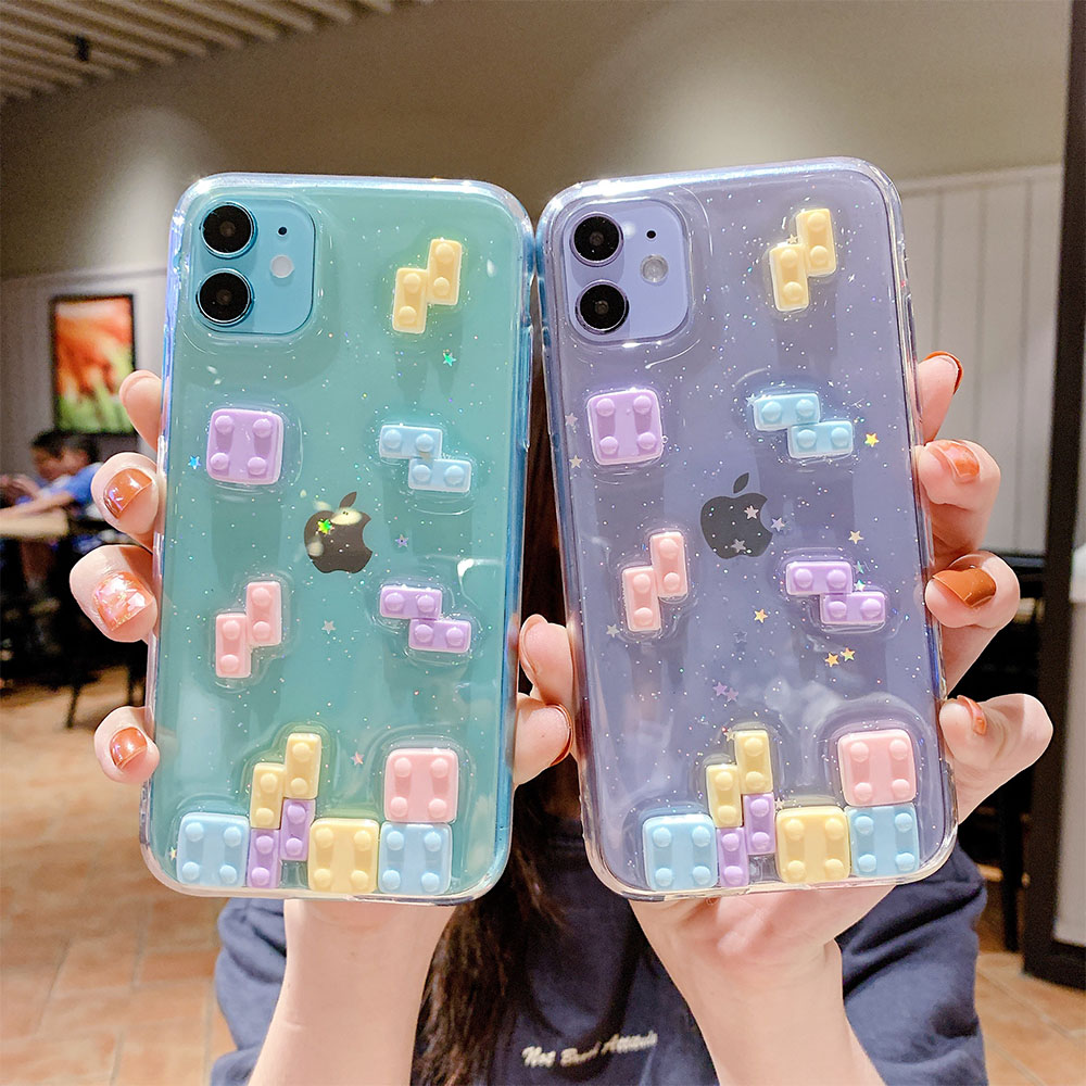3D Dimensional Funny Game Pattern Transparent Glitter Phone Cases For Iphone 12Pro Max 6 7 8 Plus X XR XS Max SE 2020 Soft Cover