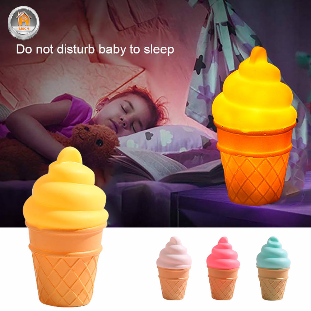 LED Night Light Cartoon Ice Cream Lamp Child Silicone Lovely Bedside Lamp Baby Sleeping Toy Gift Holiday Decoration Luminary