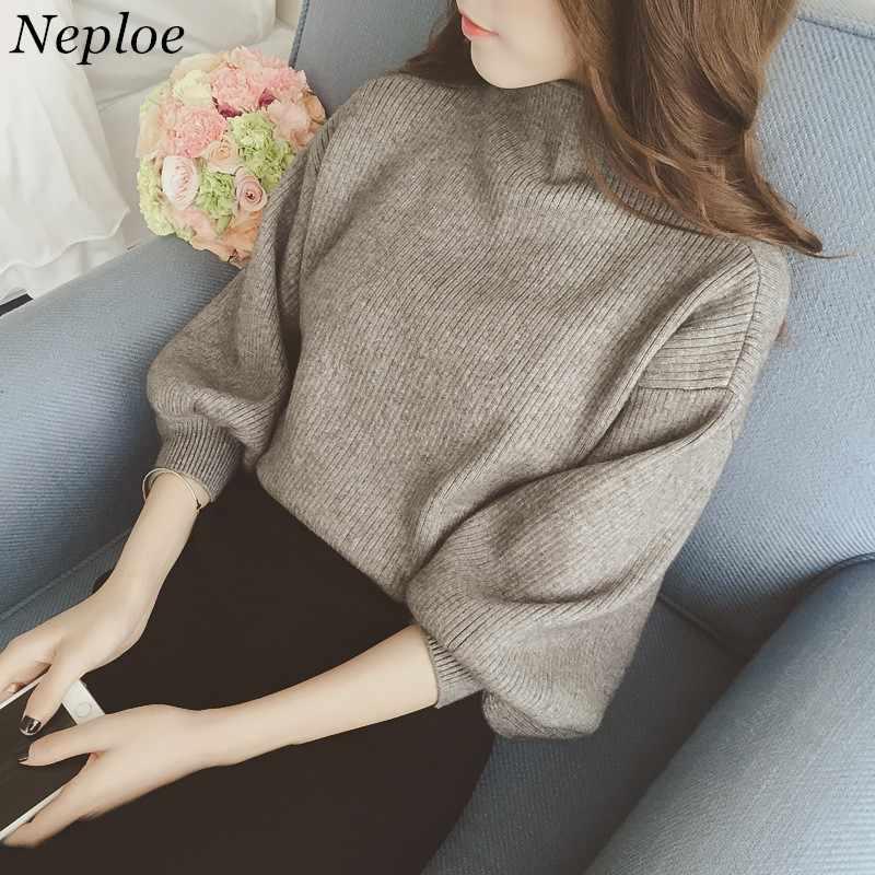 Coreano de manga comprida blusas femininas sólido nova moda casual solto pullovers meia gola alta senhoras camisola de malha 65053