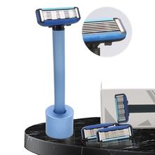 New 6-layer blades manual shaving razor men's safety razor washable aluminum alloy shaver with base