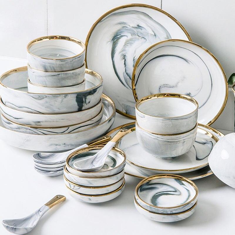 18pce/set or Lnlay porcelaine vaisselle ensembles ménage riz soupe bol et assiettes Dessert Snack assiette pour 4 personnes