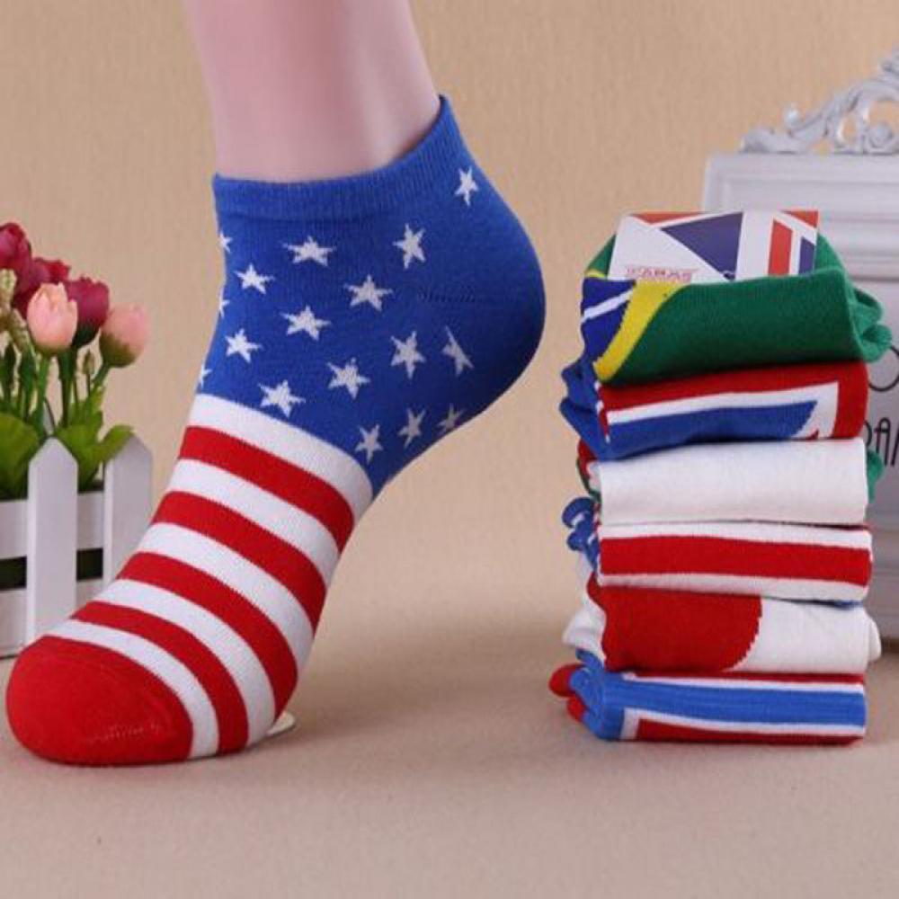 1Pair Men Cotton Sock Summer Spring Ankle Socks Low Cut Casual Sport Sock Male Non-slip Fashion Striped Colorful Flag Art Socks