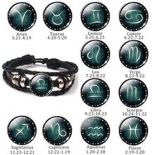 Vintage New 12 Constellation Punk Bracelet Men Leather Bracelet Charm Bracelets for Men Boys Women Girl Zodiac Jewelry Gifts цена