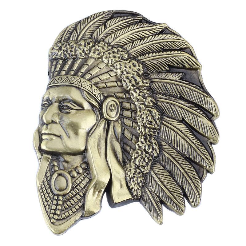 Indian Head Belt Buckle Belt DIY Accessories Western Cowboy Style Smooth Belt Buckle  Punk Rock Style K2