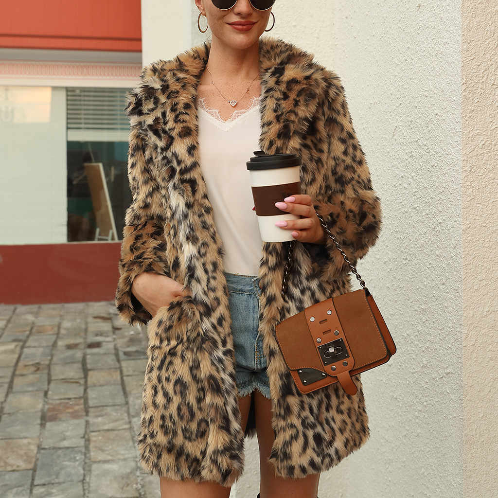 2019 New Faux Fur Coat For Women Autumn Winter Warm Fashion Leopard Printed Artificial Fur Women's Coats Casual Fur Jacket#G30