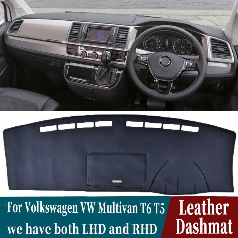 Skóra Dashmat pokrywa deski rozdzielczej Pad mata na deskę rozdzielczą dywan samochód stylizacji akcesoria samochodowe dla Volkswagen VW Multivan T6 T5 Transporter