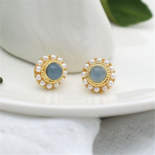 3 Pair Fashion New Geometry Round Pearl Earring female Vintage minimalist style Opal stud earrings For Women jewelry Accessories huge pair of 11mm natural tahitian genuine black perfect round pearl earring
